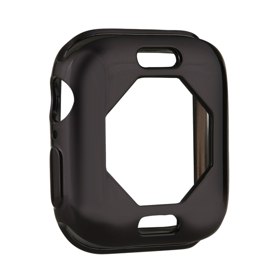 Чехол s для Apple Watch, 44 мм, 40 мм, серия 5, чехол с покрытием, TPU, мягкая защитная оболочка, защитная рамка для iWatch, 4 полосы, бампер - Цвет: Черный