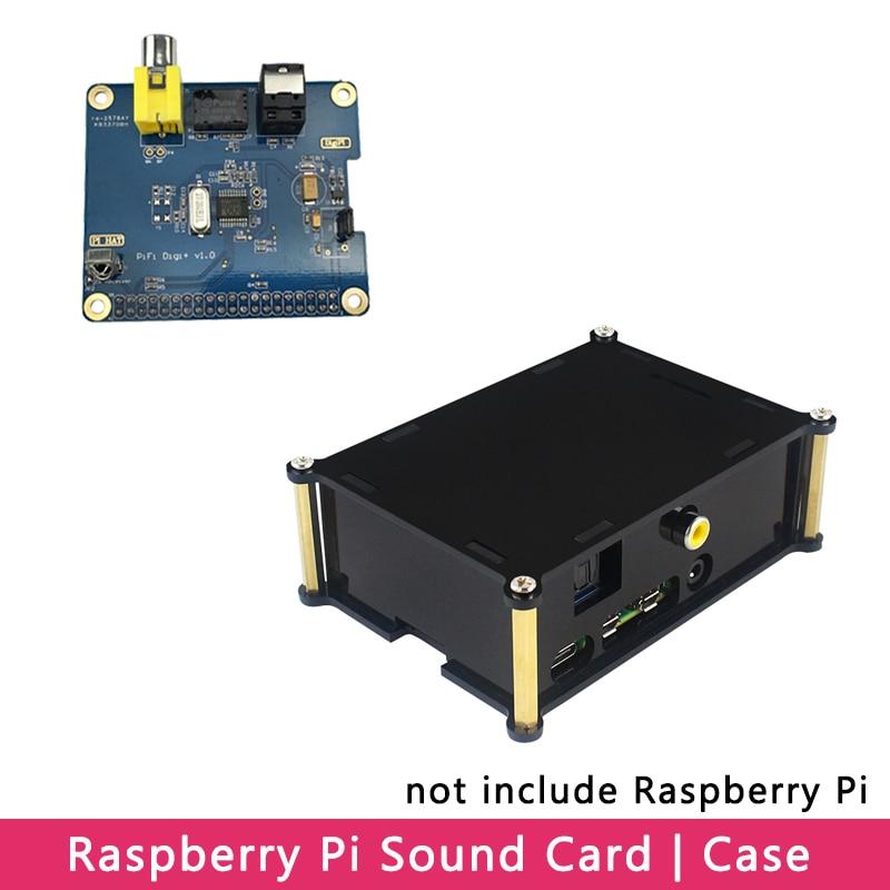 Raspberry Pi 4 PiFi Digi V1.0 GPIO Sound Card HiFi Digital Audio Board   Acrylic Case Shell For Raspberry Pi 4 Model B