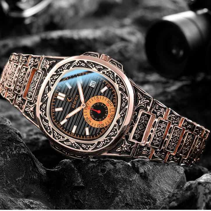 men watches Antique vintage steel watches gold quartz casual wristwatches high quality big dial