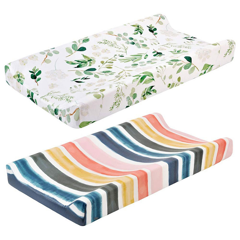 2 Pcs Baby Diaper Changing Pad Cover Cradle Mattress, Fabric Changing Mat Cover Green Leaves & Rainbow Strips