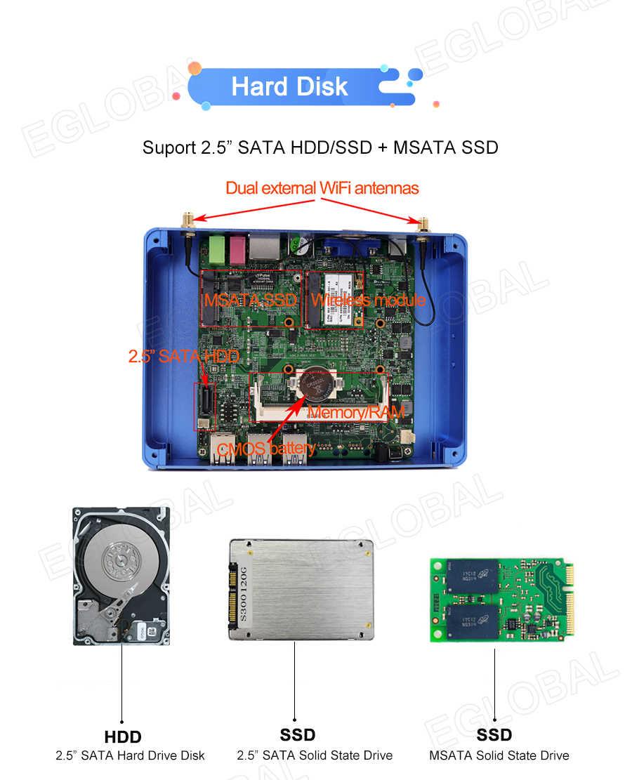 Bez wentylatora Mini PC Nuc Intel i7 i5 7200U i3 7100U pamięć DDR3L Mini PC Windows 10 Linux komputer stacjonarny 4K HTPC HDMI VGA 300M WiFi