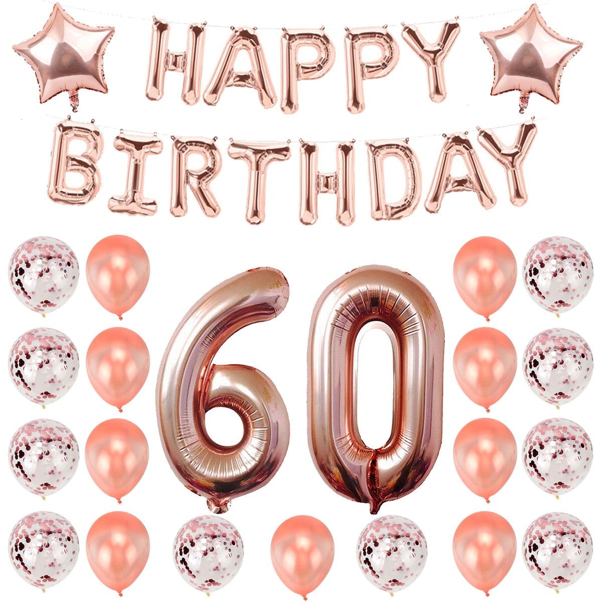 Воздушные шары из розового золота на 60 дней рождения, украшения на день рождения, товары для взрослых на 60 лет