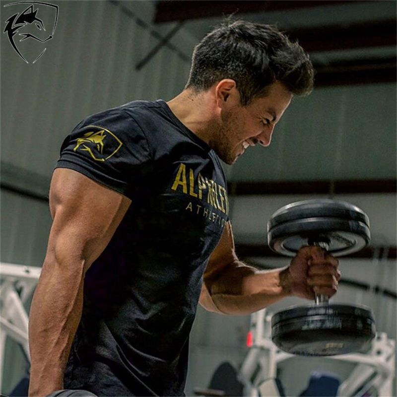 ALPHALETE Brand Mens Summer Gyms Workout Fitness T-shirt Bodybuilding Slim Shirts Printed O-neck Short Sleeves Cotton Tee Tops