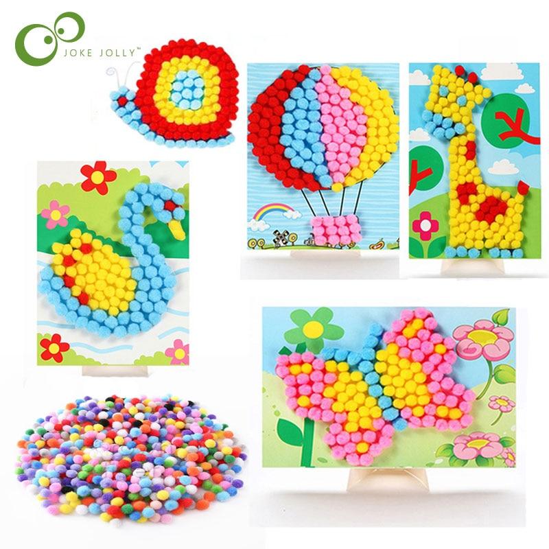 Autocollants avec pompon et boule de cheveux pour enfant bricolage matériel, dessin matériel, fait à la main, peinture artistique pour enfant, 3 pièces