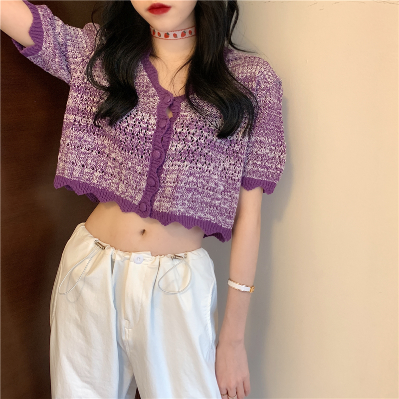 V-Neck Crocheted Casual Short Sleeve Thin Sweater Cardigans Women Summer Cardigan Shirts Crop Tops For Girls