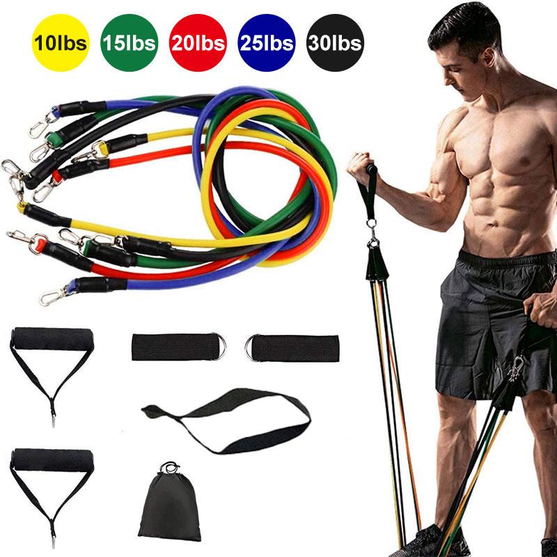 11 pz/set in lattice tirare la corda esercizi di Fitness fasce di resistenza Elasticas fasce di allenamento del corpo Set YogaTubes attrezzature da palestra con borsa