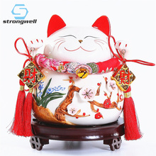 Strongwell Chinese Large Lucky Cat Ornament Ceramic Home Decoration Accessories Royal Feng Shui Decor Craft