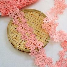 3 jardas 4cm laranja rosa flor bordado venise rendas guarnição tecido costura artesanato retalhos decoração artesanal ylhb036