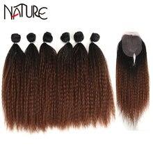 Природа черный волосы пряди афро кудрявые прямые вплетаемые
