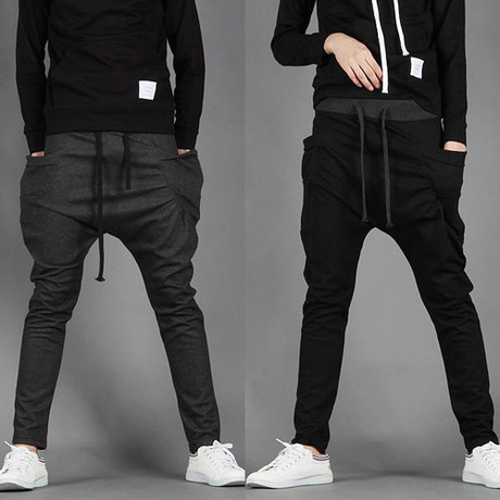 2019 Spring And Autumn New Style Korean-style Men'S Wear Contrast Color Waist Drawstring Men's Trousers Elastic Waist Athletic P