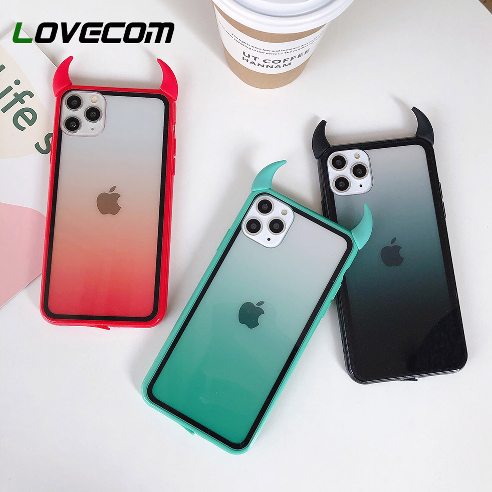 Gradient Rainbow Devil Horn Phone Case For IPhone 11 Pro Max XR X XS Max 7 8 6 Plus Case Soft Acrylic Full Body Phone Back Cover