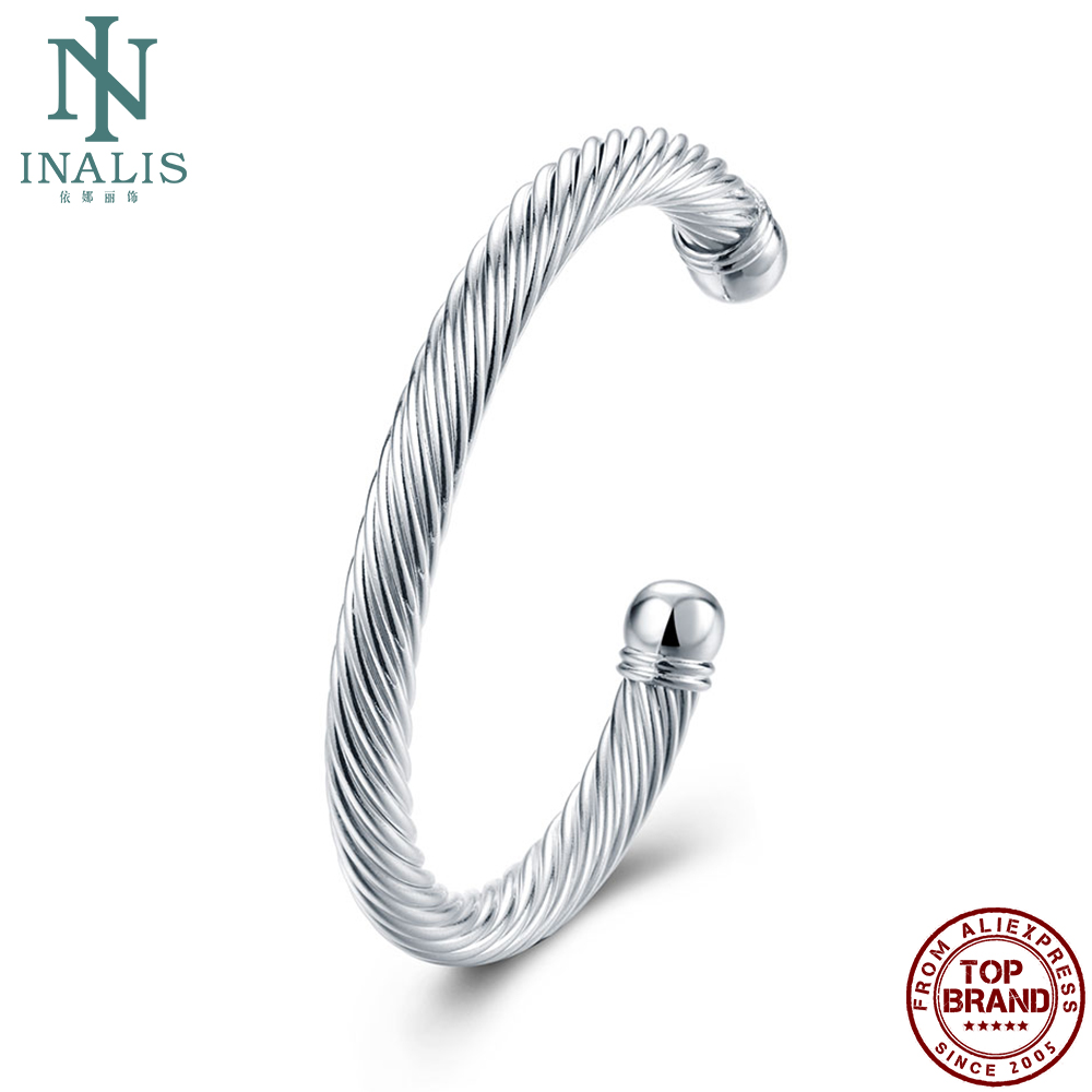 INALIS Twisted Rope Bangles Men Personality Simple White Round Open Boy Punk Styl Bangle Party Fashion Jewelry New Arrival Best