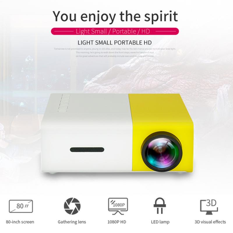 YG300 LCD Portable Mini Projector Built-in Battery Pocket Projector 1080P 30000 Hours Lamp Life Home Theater Projector Proyector