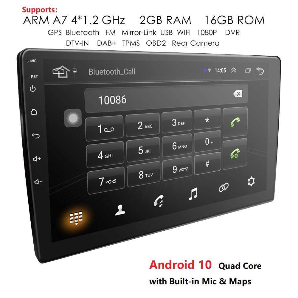 9/10.1 Inch Android 10 Gps Navigatie Autoradio Multimedia Dvd-speler Bluetooth Wifi Mirrorlink OBD2 Universele 2Din Auto Radio