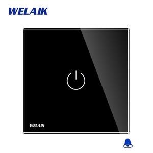 Image 4 - Welaik хрусталя панели переключателя белый настенный выключатель ЕС дверной звонок сенсорный выключатель света 1Gang1Way AC110 ~ 250 В a1911MLCW/b