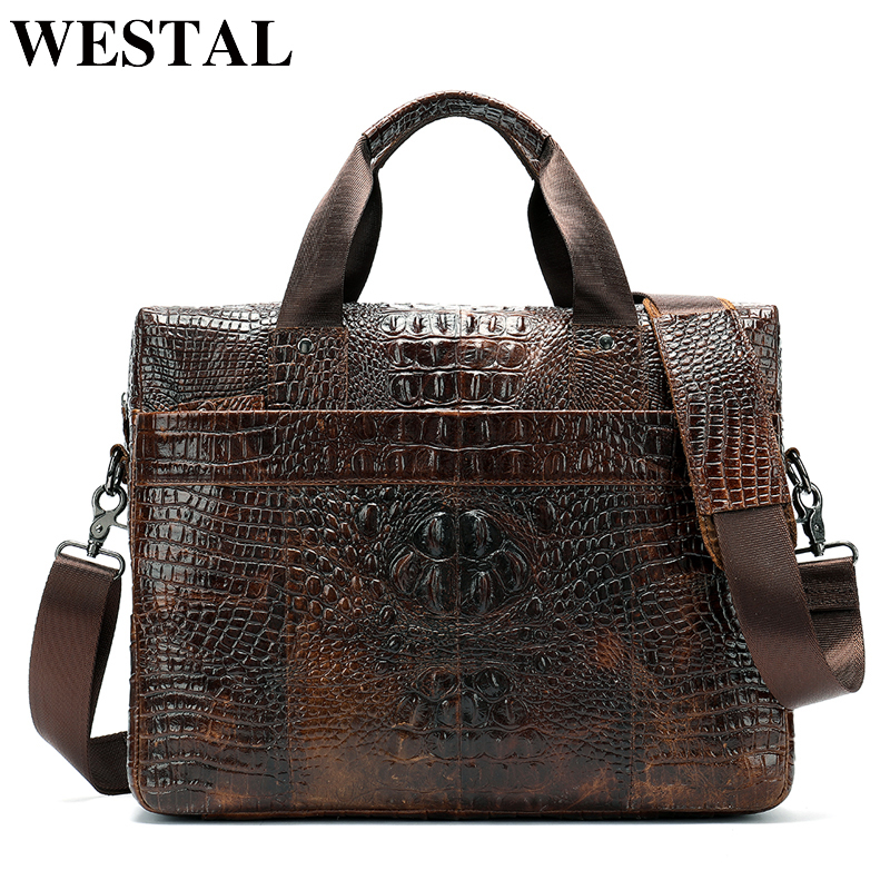 Messenger Bags Men Shoulder Bag Genuine Leather Casual Male Briefcases Laptop Male Bussiness Alligator Bags For Men 5555