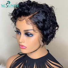 Bob Wig Short Curly 13×6 Lace Front Wig Free Part 180 Density 13×4 Lace Frontal Deep Curly Human Hair Wig Remy Brazilian xcsunny
