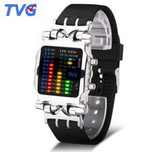 TVG luksusowa marka zegarki mężczyźni moda pasek gumowy zegarki mężczyźni LED zegarki cyfrowe mężczyźni zegarki sportowe relógio Masculino zegarki Relogio tanie tanio NONE STAINLESS STEEL CN (pochodzenie) 26 3cm 3Bar Moda casual Cyfrowy Sprzączka Nieregularny kształt 22mm 13mm Hardlex