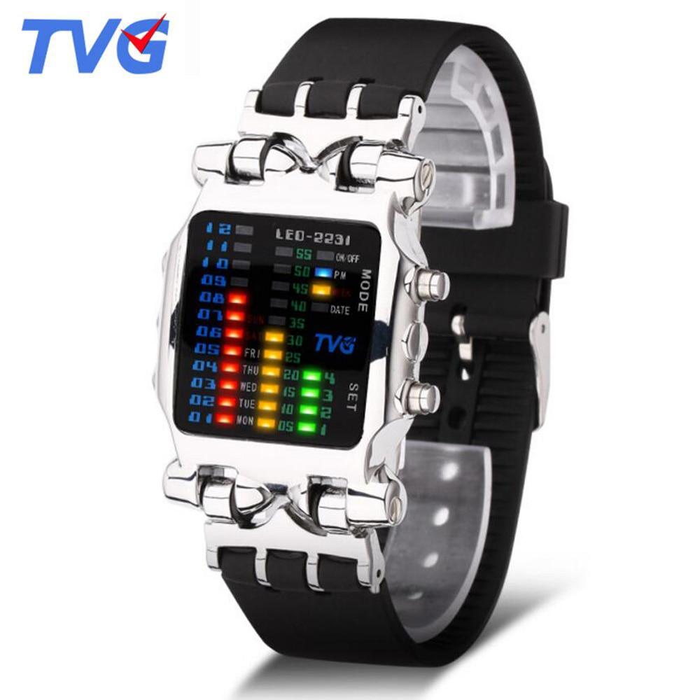 Marca de Luxo Pulseira de Borracha Relógios Homens Moda Digitais Esportes Relógio Masculino Tvg Led