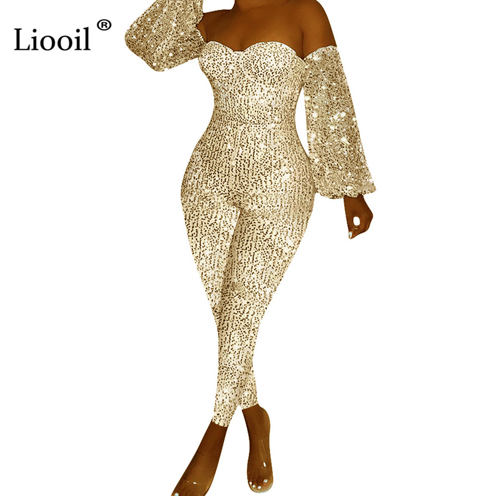 Liooil Plus Size Off Shoulder Sexy Sequin Bodycon   Jumpsuits   Fall 2019 Long Sleeve Gold Silver Party Club Rompers Womens   Jumpsuit