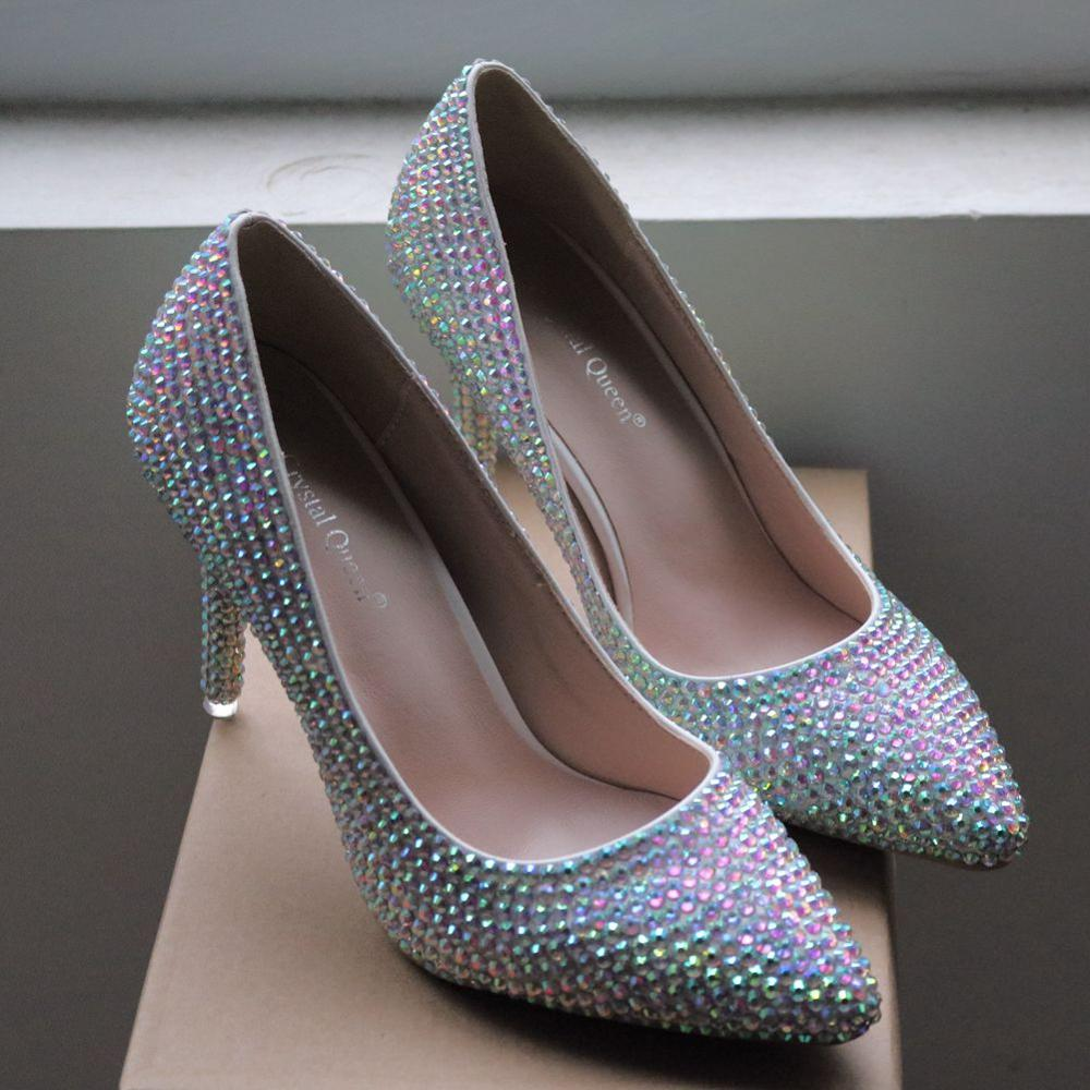 Crystal Queen High Thin Heels Shoes Women Pumps Bling Wedding Bridal Shoes Classic 9cm Pointed Toe Evening Party Shoes