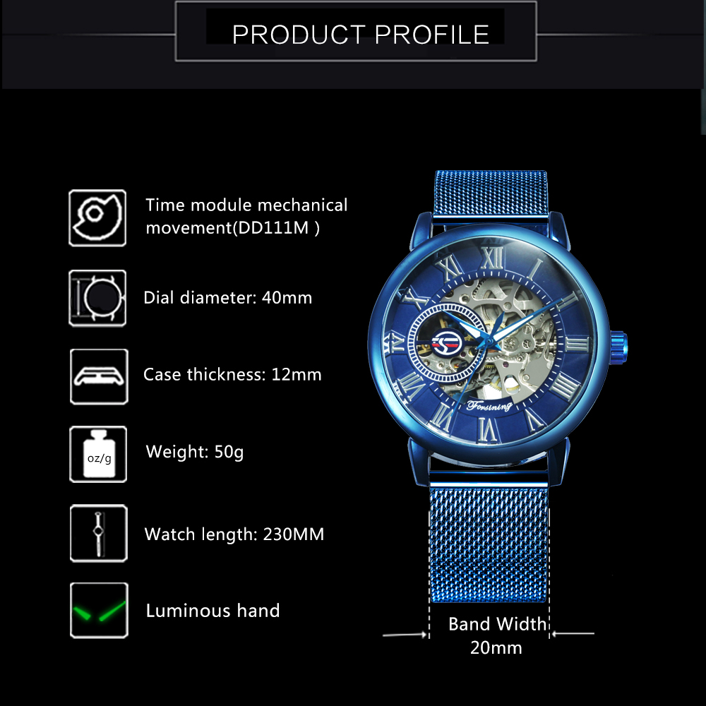 2019 FORSINING Blue Mens Watches Top Brand Luxury Skeleton Mechanical Watch Men Ultra Thin Mesh Strap Fashion Casual Wristwatch