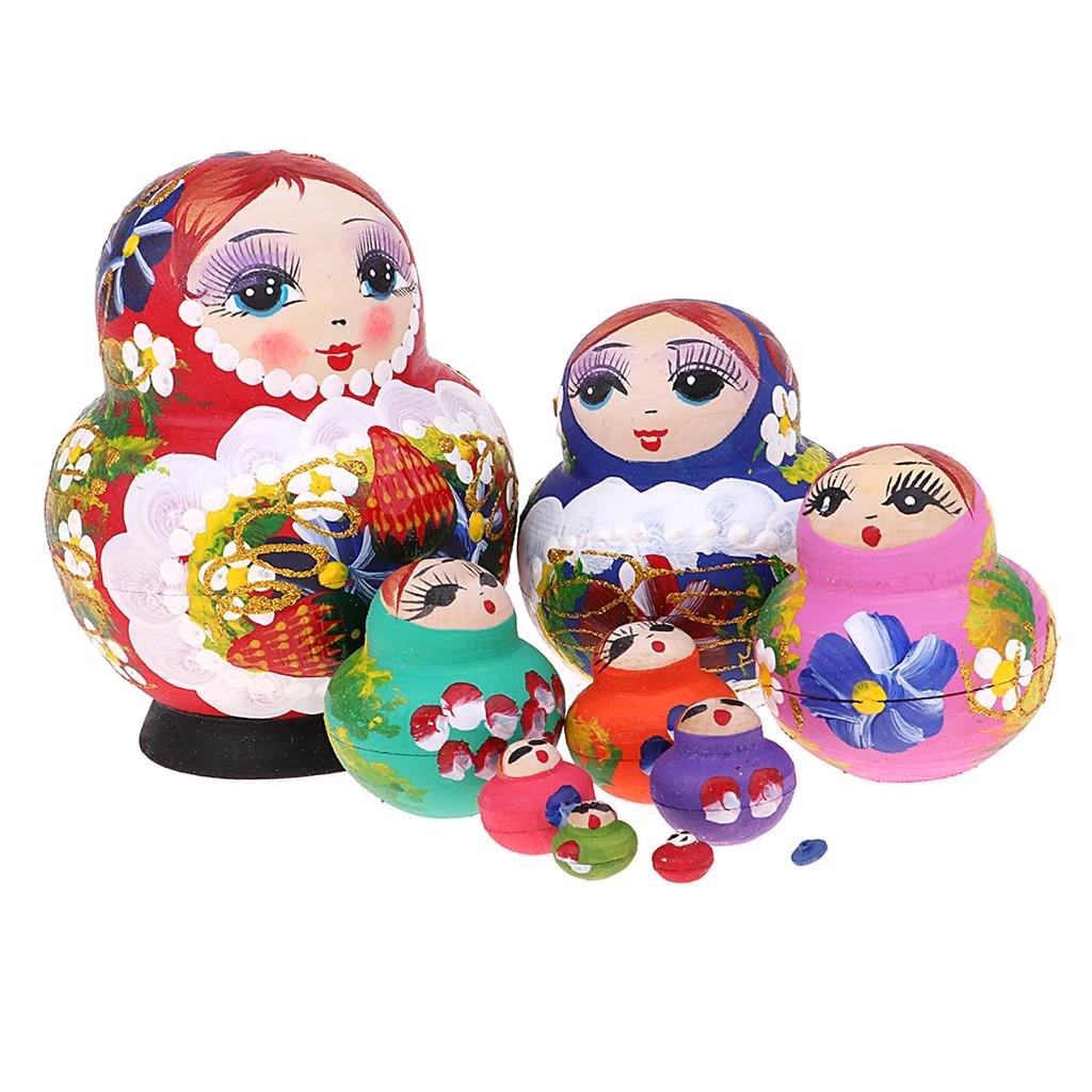 Regalo de decoración de Navidad-flores coloridas impresas muñecas rusas Matryoshka Babushka-Kit de piezas pintado a mano 10