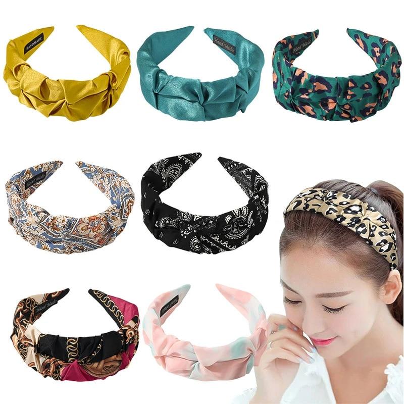 Women Hairband Pleated Wide Brim Headband Knotted Head Hoop Hair Accessories