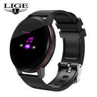 LIGE New fashion smart bracelet Full touch screen fitness Tracker Heart Rate Blood Pressure wristband waterproof Smart watch men