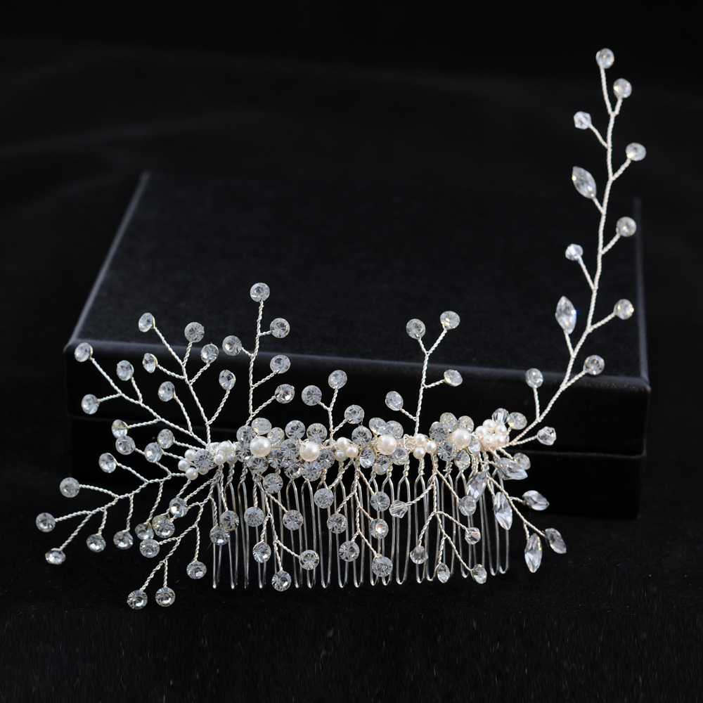 TRiXY H15 Gorgeous Headwear Classical Hair Vine Diamond Hair Comb Wedding Hair Accessory Jewelry Headpiece For Bride Bridesmaid