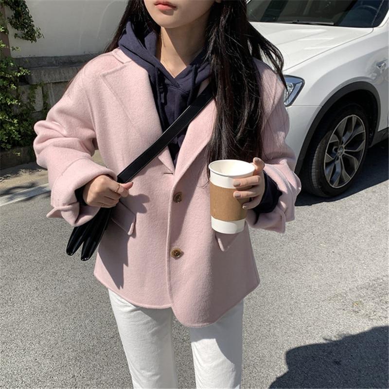 H4705ff37f072483c84b818bffe23dc16o - Winter Korean Revers Collar Solid Woolen Short Coat