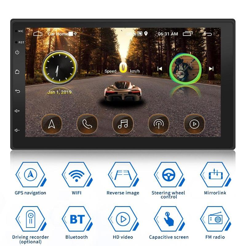 Double 2DIN Car Stereo MP5 Player 1GB+16GB Android 9.1 GPS Navigation BT WiFi USB Auto Radio Head Unit Driving Speed Display image