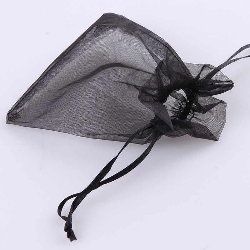 100 шт Черная органза 7x9 9x12 10x15 13x18 см сумки из органзы упаковка ювелирных изделий сумки Свадебный декор Drawable Сумки Подарочные Пакеты