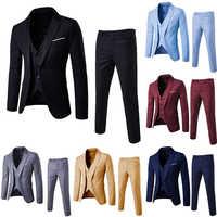 3Pcs Men's solid color slim wedding dress married groomsman small suit overalls suit three-piece suit
