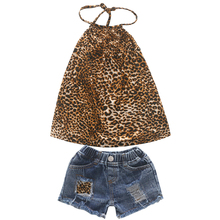 1-6Y toddler girl outfits leopard halter neck tank top and short jeans girls sets clothing kids clothes