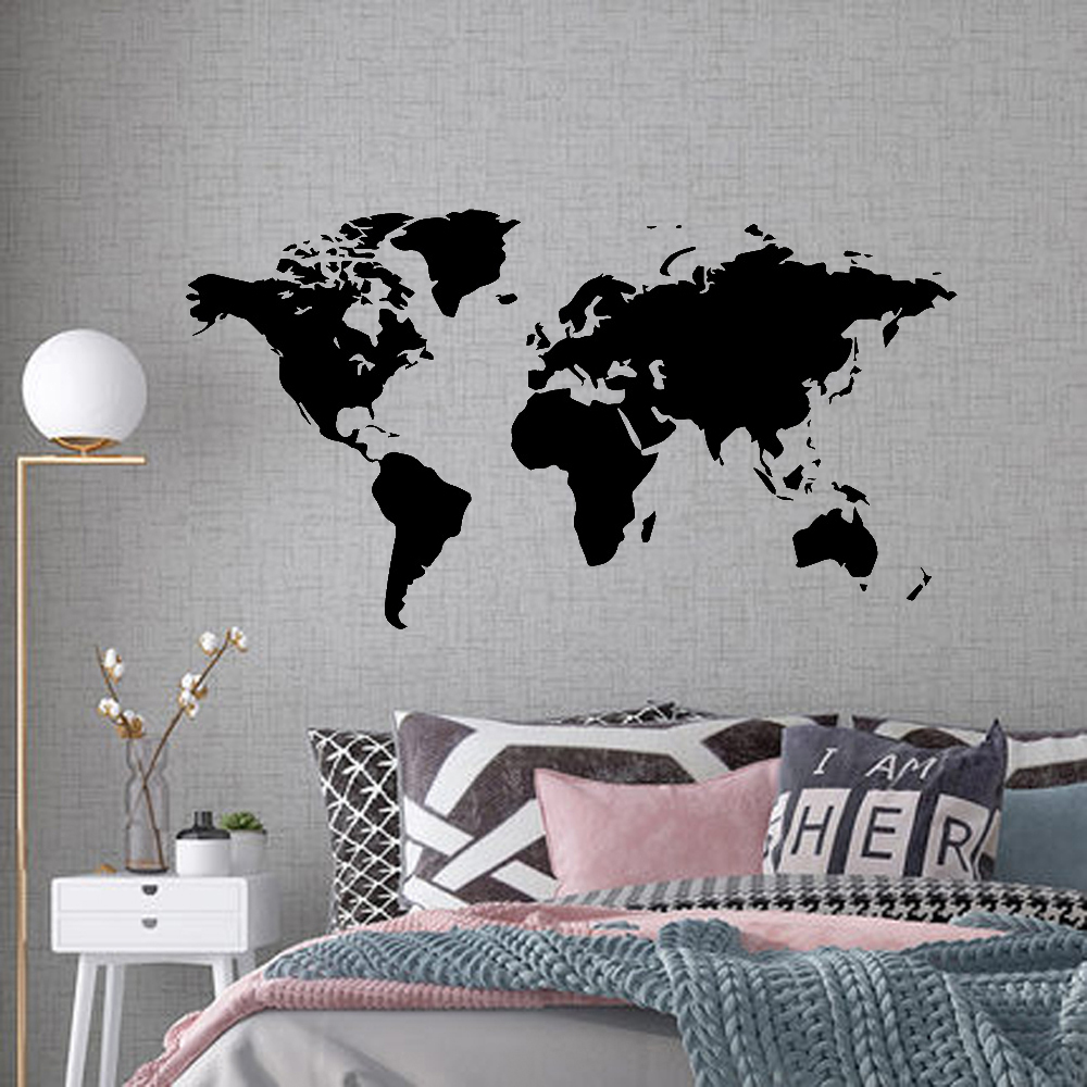 Large 106cmX58 Wall Sticker Decal World Map For House Living Room Decoration Stickers Bedroom Decor Wallstickers Wallpaper Mural