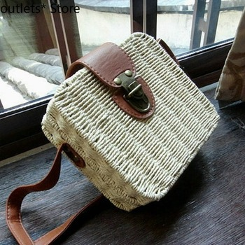 Candy Color Beach Messenger Straw Bag Small Female Woven Rattan Dance Bags for Woman