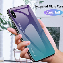 Gradient Tempered Glass Case For iPhone 7 6 8 6s Plus X Xs Max Xr Protective Cover Case For iPhone Xr XS MAX X 7 8 6 S Plus Case(China)