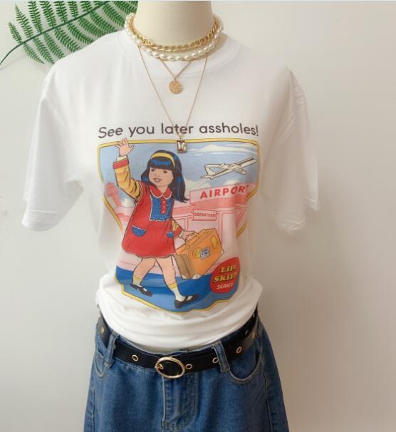 Sunfiz YF See You Later Assholes Print T Shirt Man Women Short Sleeve Vintage Style 80s 90s Street Style Tee Tops