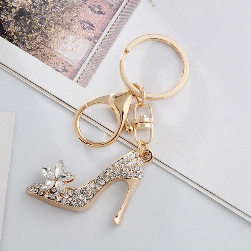 High Heel Shoe Keychain Rhinestone Crystal Purse Car Key Chain Bag Decorative Alloy Keyring