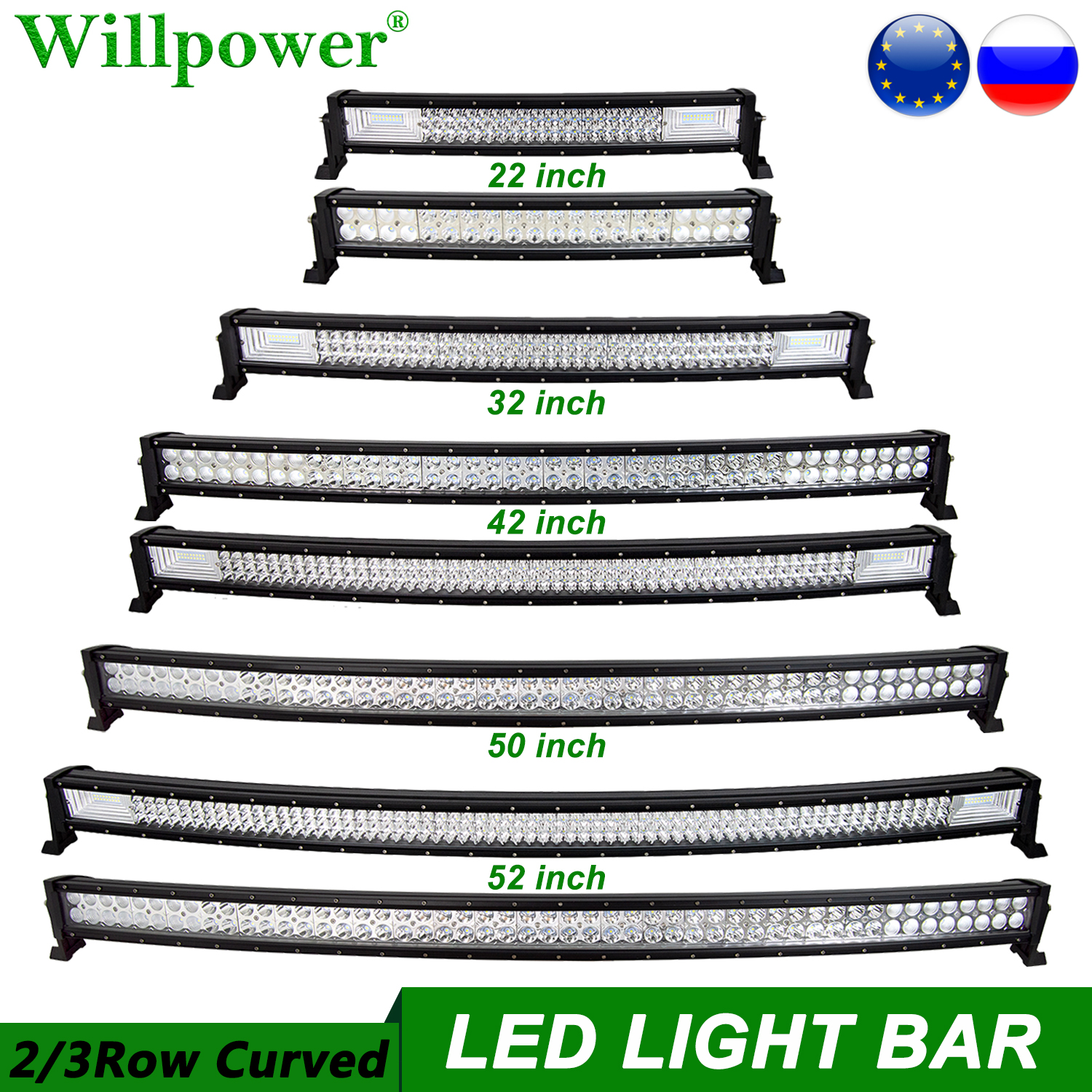 SUV Car Roof 22 32 42 50 52 inch Curved LED Light Bar For Jeep Dodge Chevy 4x4 Truck Lightbar Offroad Driving LED Bar 2 3 Rows
