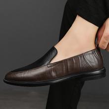 Męskie buty sukienka z prawdziwej skóry Vintage mokasyny biznesowe płaskie miękkie dno obuwie męskie mokasyny męskie mokasyny męskie tanie tanio fuhaobang Skóra bydlęca RUBBER 20661106 Slip-on Pasuje prawda na wymiar weź swój normalny rozmiar Podstawowe Stałe