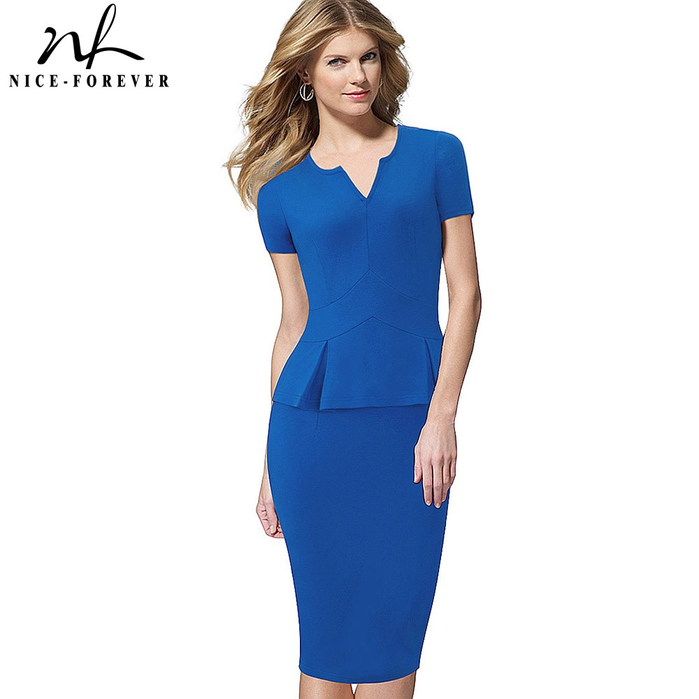 Nice-forever Elegant Solid Color Wear To Work Short Sleeve Office Vestidos Bodycon Peplum Business Women Dress B383