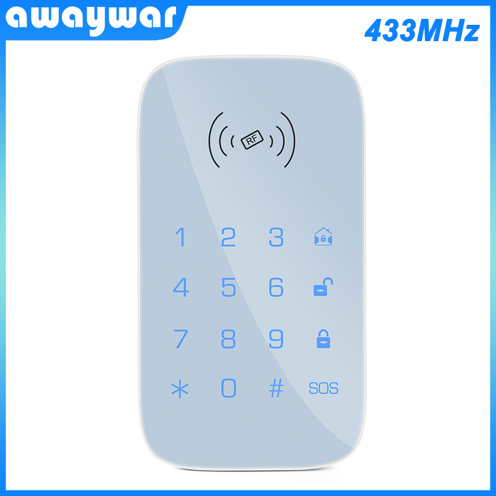 Wireless Keypad For Smart Home Security System Kit For Burglar Fire Alarm Host Control Panel Support RFID Tag Arm Disarm 433MH