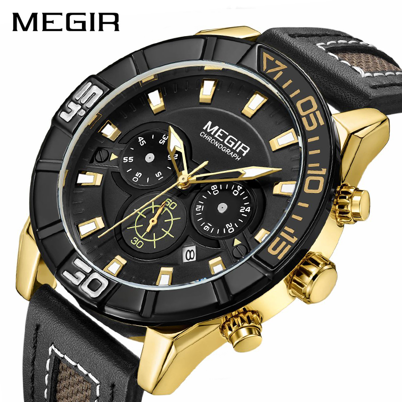 <font><b>MEGIR</b></font> New Military Quartz Watches Men Top Brand Luxury Waterproof Quartz Chronograph Sport Watch Leather Wristwatch Man <font><b>2101</b></font> image