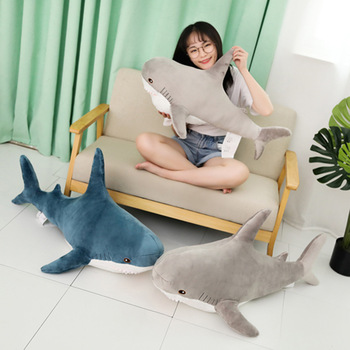 Economical Lovely Big Shark Soft Plush Toy Dolls Stuffed Animal Pillow Bedroom Decoration Boys And Girls image