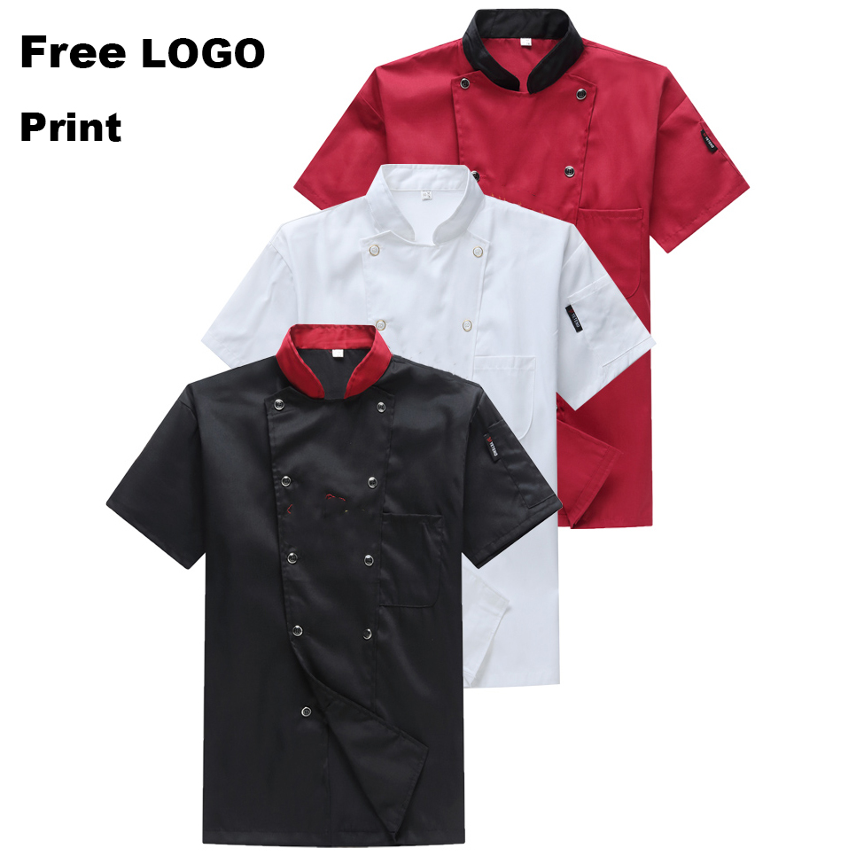Free LOGO Wholesale Chef Uniform Restaurant Kitchen Breathable Double Breasted Shirt Chef Jacket+cap+apron Work Clothes For Men