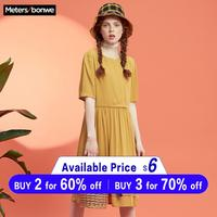 Metersbonwe Vintage button Women Dress Shirt short sleeve Cotton Summer dresses Casual Korean Vestidos 2019 Festa