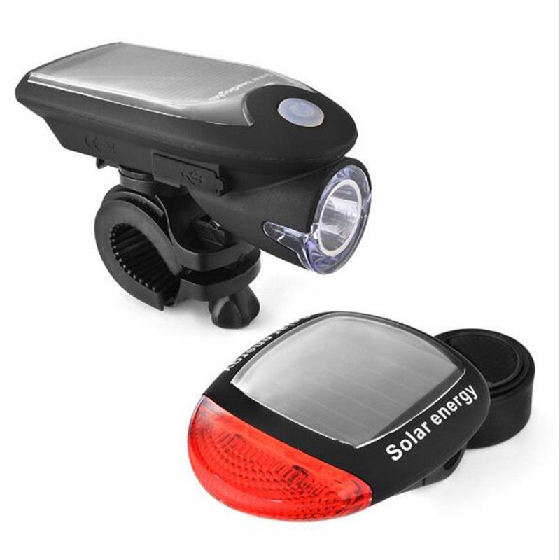 Solar Bicycle Lights Mountain Bike Front Lights USB Charging Light Flashlight Solar Headlight Taillights Two-In-One Equipment