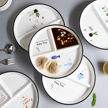 72h Split ceramic plate home cute children's disc student plate three-set plate set diner plate dumpling plate sushi plate